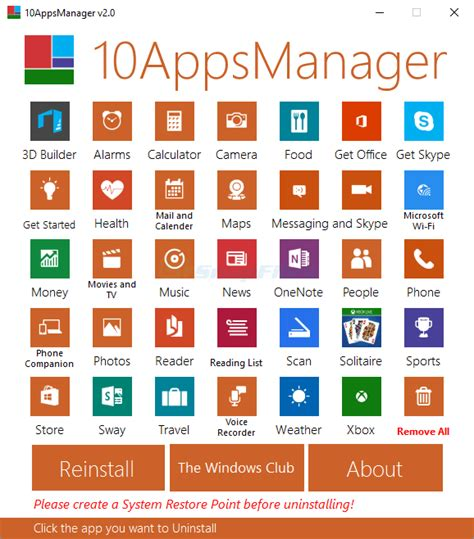 10AppsManager - uninstall or reinstall Windows 10 default apps